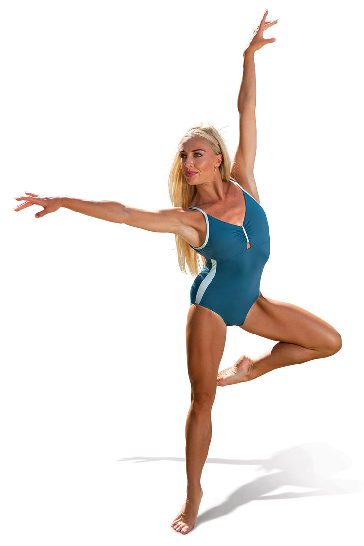 Danz N Motion - Cinch Front Cami Leotard - Child/Adult (20122C/20122A) - Petro Blue/ Eggshell *