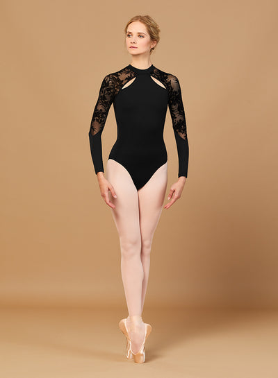Bloch - High Neck Zip Back Long Sleeve Leo - Adult (L7839) - Black *