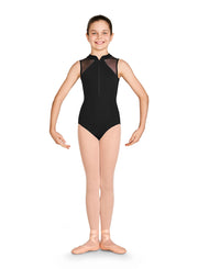 Bloch - Diamante Zip Front Tank Leotard - Child (CL2977) - Black *