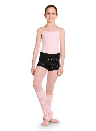 Bloch - Roll Waist Textured Knit Shorts - Child (CR5514) - Black #
