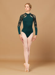 Bloch - High Neck Zip Back Long Sleeve Leo - Adult (L7839) - Serene #