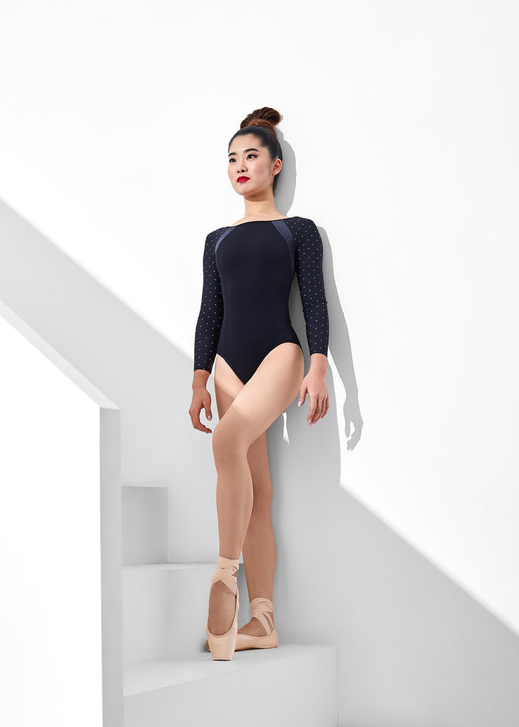 Nikolay - Little Adeline Long Sleeve Leotard (DAD1955MPN/DA1955MPN) - Black/Black Polka Dot