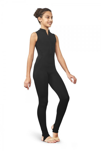 Bloch - Zip Front Open Back Stirrup Unitard - Child (FM5170C) - BLK #