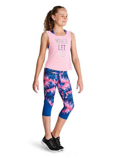 "Kaia by Bloch - ""Never Let Go"" Printed Glitter Front Strap Back Tank Top - Child (KA045T) - Petal #"