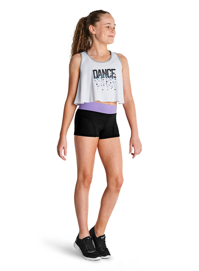 "Kaia by Bloch - ""Dance"" Printed Bind Tank Top - Child(KA046T) - White #"