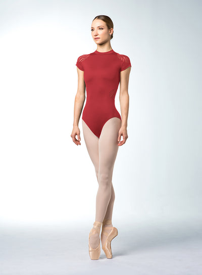 Bloch - Dezarae Stripe Mesh Open Back Cap Sleeve Leotard - Adult (L4862) - Garnet *