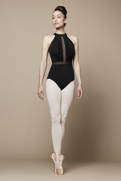 Bloch - Flock Mesh Paneled Zip Back Leotard - Adult (L5525) - Black