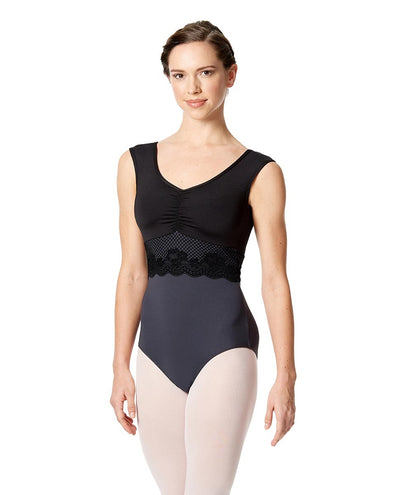 Lulli Dancewear - Jolanda Lace Detail Sleeveless Leotard - Adult (LUF514) - Black #