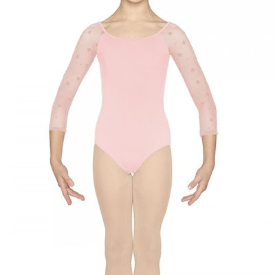 Mirella - Heart Flock Scoop Neck 3/4 Sleeve Leotard - Child (M114C) - Pink *