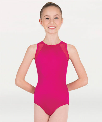 Body Wrappers Power Mesh Slit Back Leotard - Fuchsia - Child/Adult (P1006)