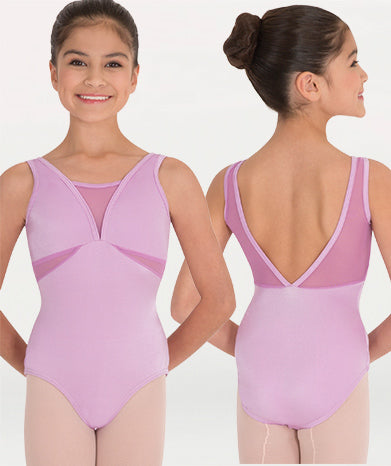 Body Wrappers - Mesh V-Necklines & Inserts Leotard - Child/Adult (P1008) - Orchid *