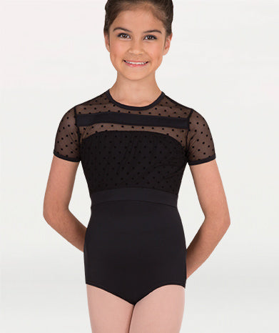 Body Wrappers Dotted Mesh Cap Sleeve Leotard - Child/Adult (P1044)