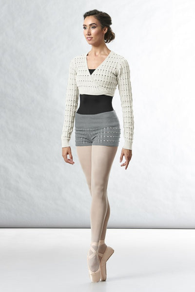 Bloch - Ladies Sonoma Roll Waist Textured Knit Short - Adult (R5504) - Grey Marle *