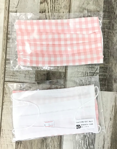 Adult Mask - Light Pink Checkered Gingham (19-20) - FINAL SALE #