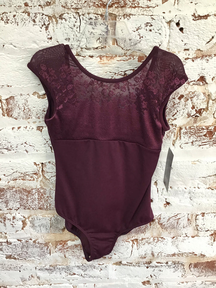 Bloch - Floral Front Cap Sleeve Leotard - Child/Adult (TWL9522/L9522) - Maroon #