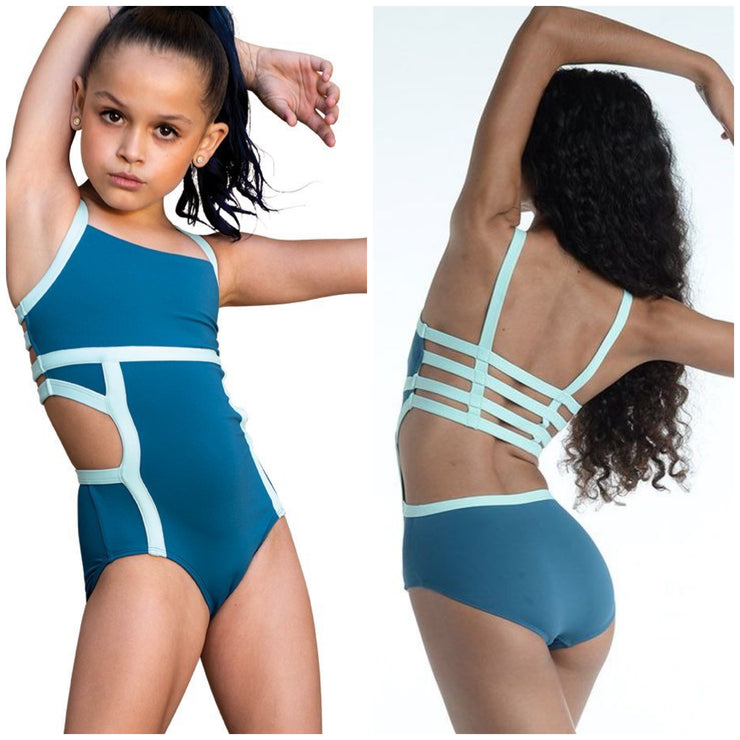 Danz N Motion - Color Block Cut Out Leotard - Child/Adult (20119C/20119A) - Petro Blue #