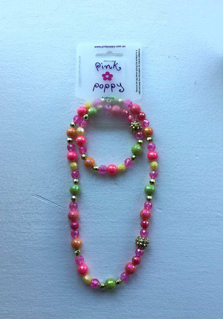 Pink Poppy - Matching Beaded Necklace and Bracelet - (NBF412) - Multicolor #