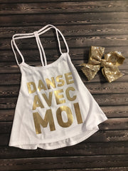 Bloch - Danse Avec Moi (Dance With Me) Braided Strap Printed Swing Top - Child (BM205T) - White #
