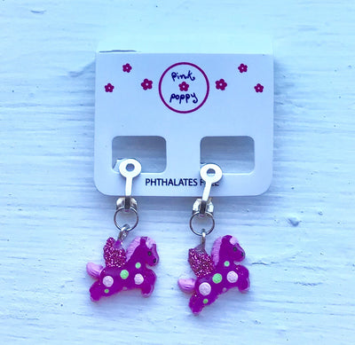 Pink Poppy - Unicorn Clip-In Earrings - (2337) - Pink #