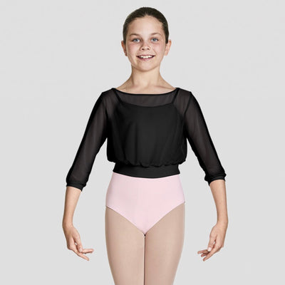 Bloch - Tazanna Three Quarters Sleeve Mesh Top - Child (CZ8106) - Black #