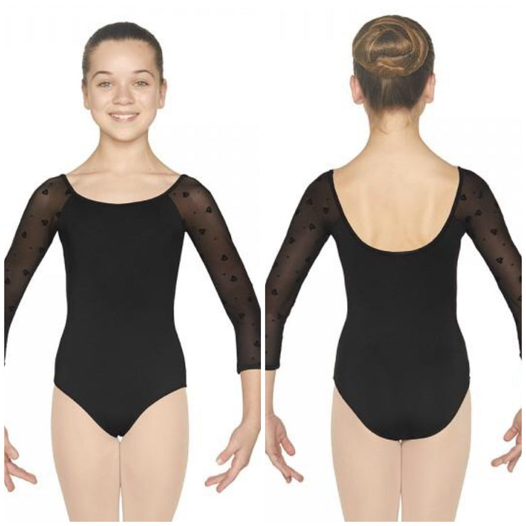 Mirella - Heart Flock Scoop Neck 3/4 Sleeve Leotard - Child (M114C) - Black *