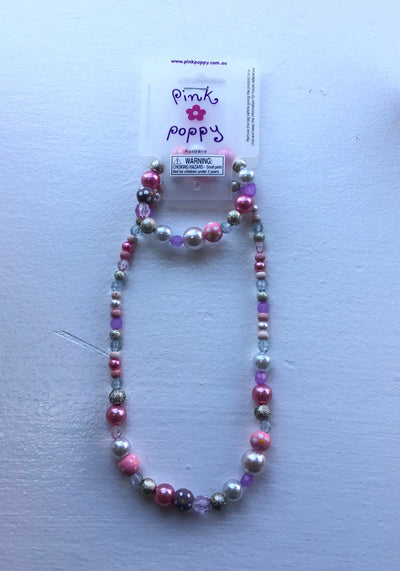 Pink Poppy - Matching Beaded Flower Necklace and Bracelet - (NBT300) - Light Pink/Purple #