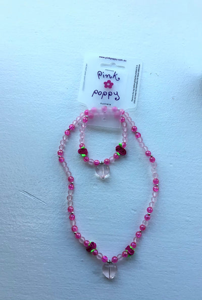 Pink Poppy - Matching Beaded Heart/Rose Necklace and Bracelet - (NBF-816-2) - Hot Pink #