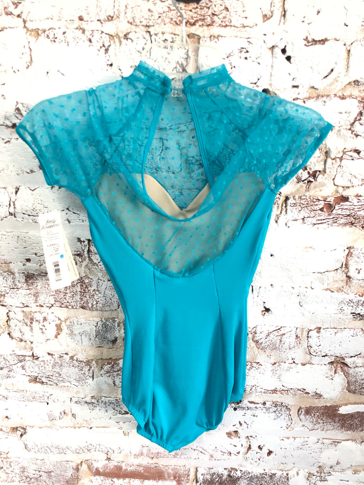 Body Wrappers Diamond Mesh Cap Sleeve Leotard - Child/Adult (P1110) - Bright Teal