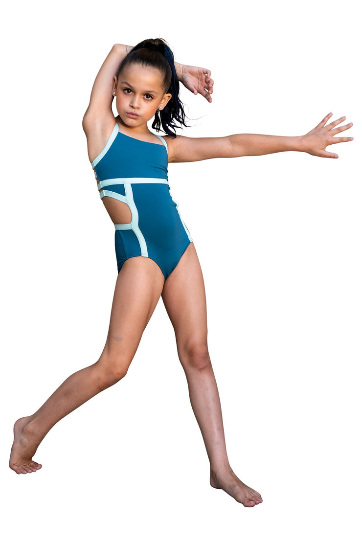Danz N Motion - Color Block Cut Out Leotard - Child/Adult (20119C/20119A) - Petro Blue *