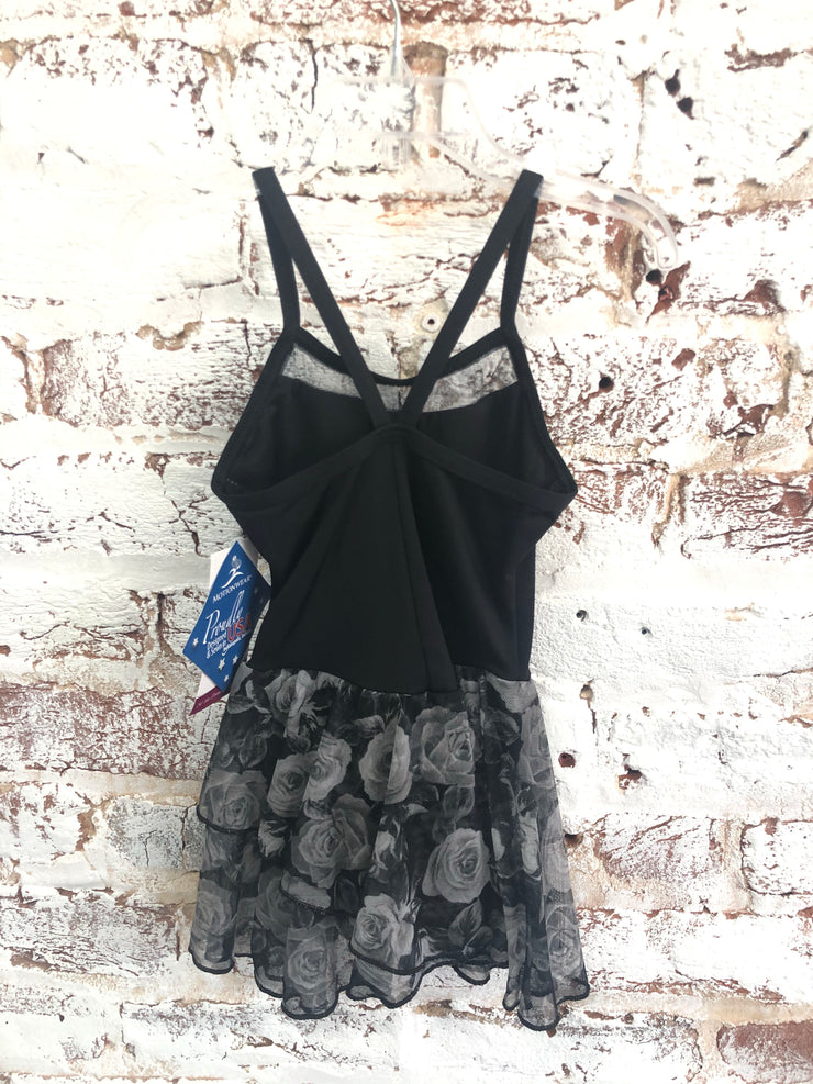 Motionwear - V-Strap Inset Cami Skirted Leo - Child (4295-665) - Black Floral *