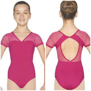 Mirella - V Neckline Open Back Cap Sleeve Leotard - Child (M1517C) - Popsicle *