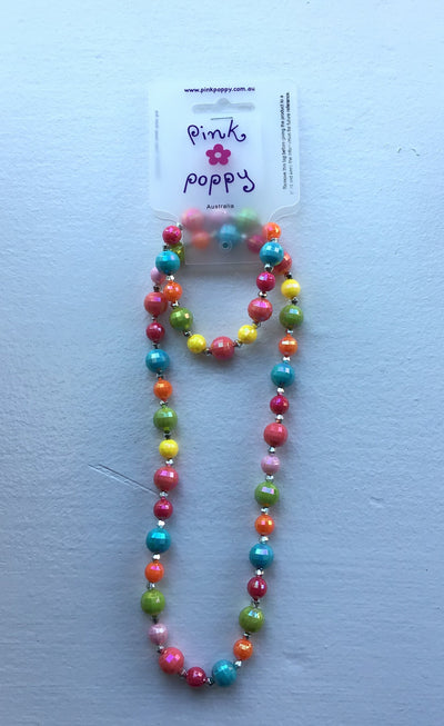 Pink Poppy - Matching Sparkle Beaded Necklace and Bracelet - (NBF-826) - Multicolor #
