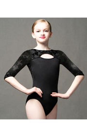 Motionwear - Open Front 3/4 Sleeve Leotard - Child/Adult (2390-695) - Black Wildflower Burnout Velour