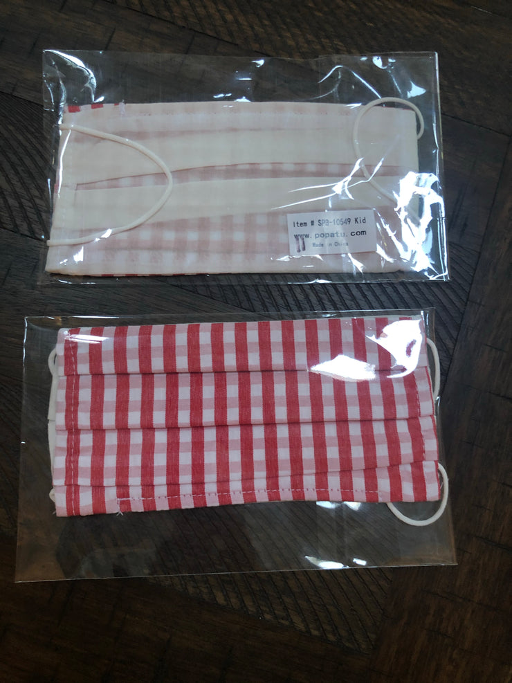 Child Mask - Red Large Checkered Gingham