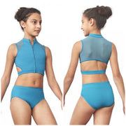 Bloch - High Neck Zip Front Mesh Crop Top - Child ( FT5165C) - Turquoise *