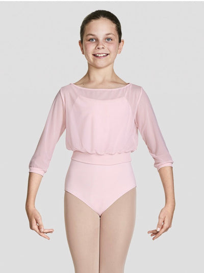 Bloch - Tazanna Three Quarters Sleeve Mesh Top - Child (CZ8106) - Candy Pink #