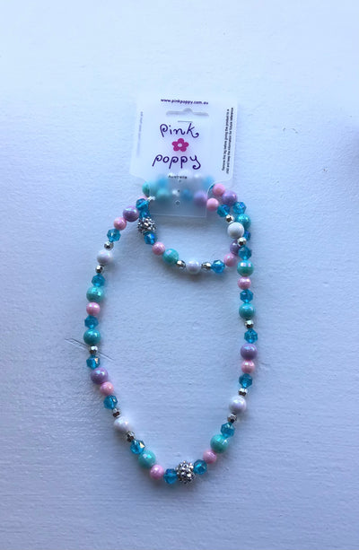 Pink Poppy - Matching Beaded Necklace and Bracelet - (NBF412) - Blue #