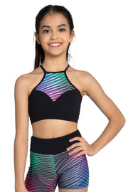 SoDanca - Trinys Halter Neck Bra Top - Child/Adult (F14343LE) - Black/Multicolor #