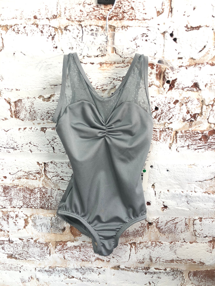 Body Wrappers - Pointelle Mesh Cut-Out Back Leotard - Child/Adult (P1181) - Steel *