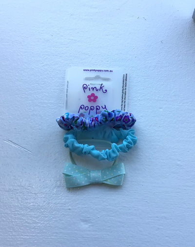 Pink Poppy - Scrunchie and Bow Hair Tie Set - (2403) - Blue #