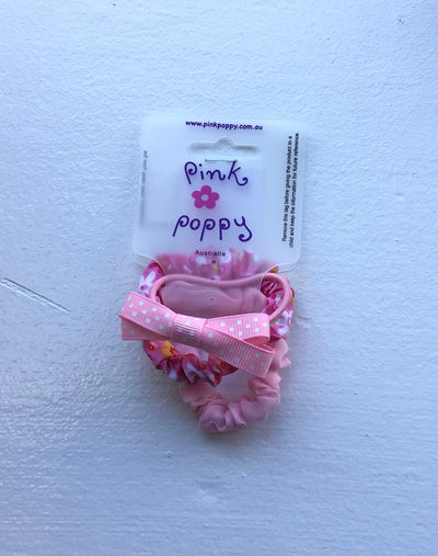 Pink Poppy - Scrunchie and Bow Hair Tie Set - (2402) - Pink #