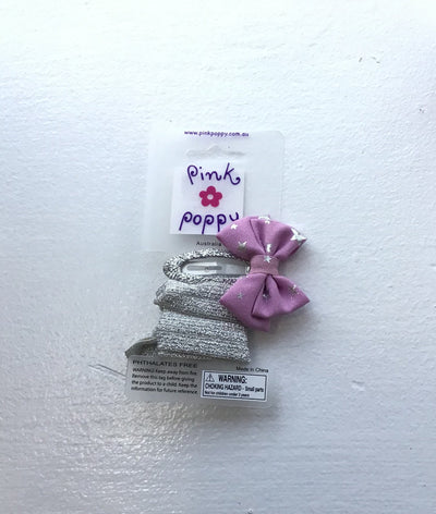 Pink Poppy - Glitter Hair Clip/Hair Tie with Bow - (2356) - Purple/Silver #