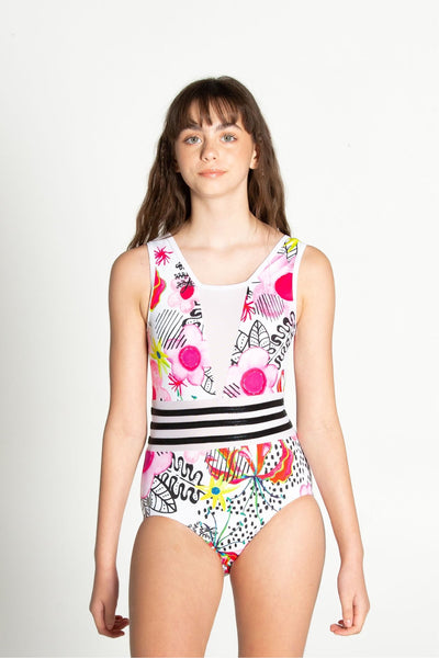 Sylvia P - Tropics Leotard - Child/Adult - White Tropic Floral *