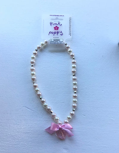 Pink Poppy - Heart with Bow Charm Beaded Pearl Necklace - (NCF-385) - Light Pink #