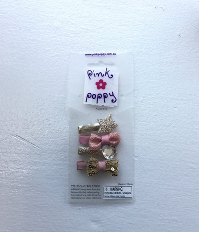 Pink Poppy - Bow/Heart/Star Sparkle Hair Clips - (HCT313) - Pink/Gold #