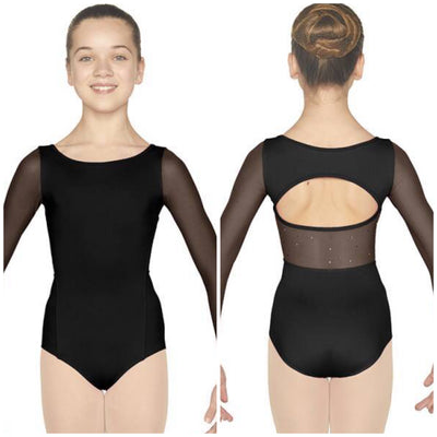 Mirella - Mesh Open Back Long Sleeve Leotard - Child (M113C) - Black *