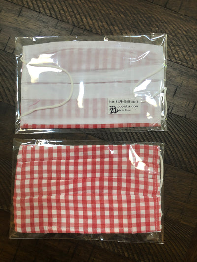 Adult Mask - Red Checkered Gingham