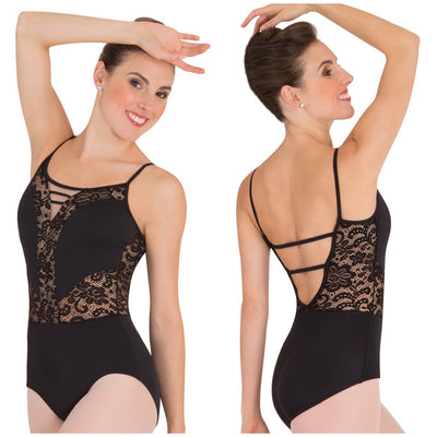 Body Wrappers - Camisole Romantic Lace Leotard - Child/Adult (P1101) - Black (GSO) /