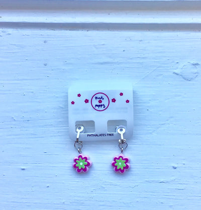 Pink Poppy - Flower Clip-In Earrings - (2338) - Pink #