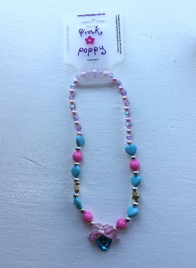 Pink Poppy - Beaded Heart/Star Necklace - (NCT313) - Pink/Blue #